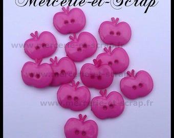 Batch 6 fabric buttons pink Apple fruit 15mm Plastic 2 hole