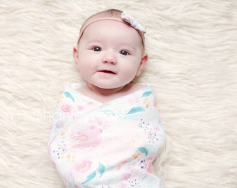 Watercolor Floral Swaddle, Floral Swaddle Blanket, Floral Crib Sheet, Baby Girl Bedding, Floral Baby Blanket, Spring Baby Blanket, Blush