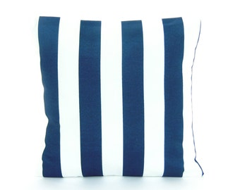 Navy Stripe Outdoor Nautical Pillow COVER ALL SIZES Beach Cushion Coastal Couch Pillow Cottage Patio Navy White Stripe Decorative Sham
