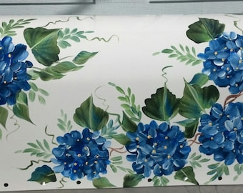 Hand Painted Mailbox BLUE HYDRANGEAS , Rural curbside painted decorative mailbox, floral mailbox, UV Resistant paints