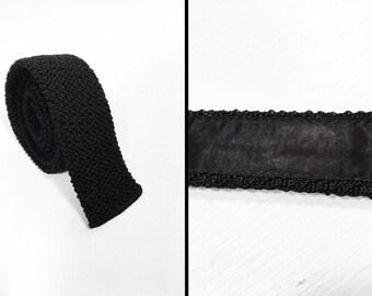 Vintage 40s Crochet Necktie Arco Blue Square End Rayon Tie Flat Bottom