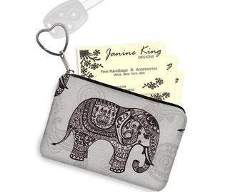 Elephant Business Card Case Key Chain Key Fob Small Zipper Pouch Coin Purse Bridesmaid Gift  paisley fabric gray black RTS