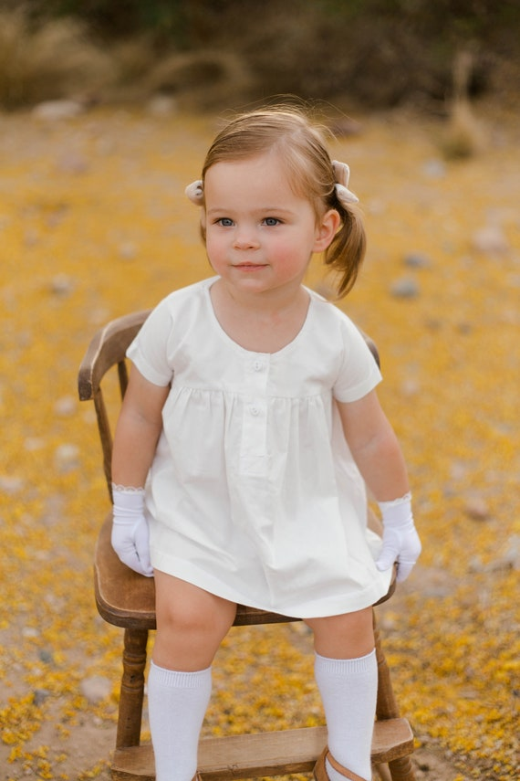 Girls White Blouse- Dress for Baby - White Organic Toddler Top - Toddler Clothes - Simple Girls Dress 6 to 12 months - Child Gift Ideas