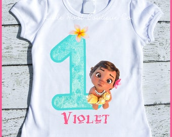 Custom Personalized Baby Moana Birthday Tee Shirt