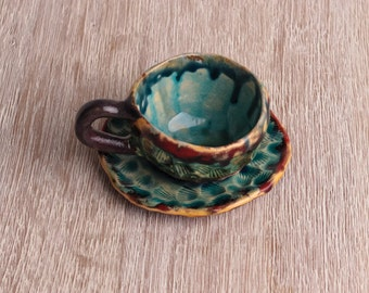 Ceramic coffee mug, blue espresso cup, pottery, stoneware, modern, coffee mug, modern ceramic mug, ceramic cup,