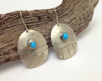 Turquoise Earrings, Sterling Silver, Southwestern, Sawtooth Bezel Set, Handmade, Hooks Vintage