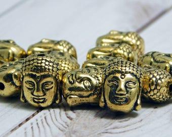 10 or 20 Beads - 11x9mm - Buddha Beads - Buddha Head Bead - Gold Buddha - Mala Beads - Prayer Beads - Metal Beads - Metal Buddha Bead  (A47)