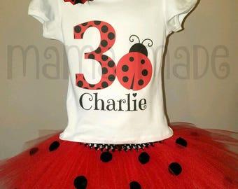 Girl's Birthday Tutu Outfit, Ladybug birthday outfit, Ladybug Birthday Tutu, Ladybug Birthday Tutu Set, Ladybug Party,Girls Ladybug Birthday