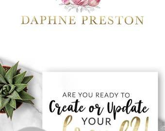Logo Design, Premade Logo, Branding, Blog Header, Business Logo, Photography, Boutique, Shop, Jewellery, Store, Website, Flower, Rose, 407