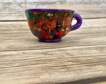 Hand Painted Talavera Cup // Pottery Teacup  //  Hand Made Pottery // Kitchen Decor // Home Decor  // Decorative Cup