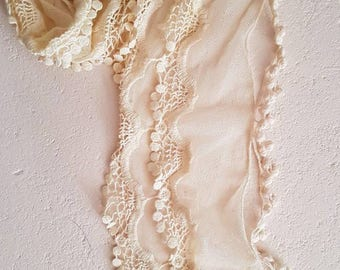 Vintage cream lace netting scarf