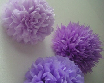 SALE / PASTEL PURPLES tissue paper pompoms / sofia first birthday party decor / baby girl nursery decoration / lavender lilac aisle marker