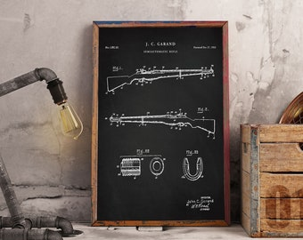 M1 Garand Semi|automatic 30 Caliber Sniper Rifle | WW2 Assault Rifle | Art Print | Poster | Fire Arm | Weapon | P443