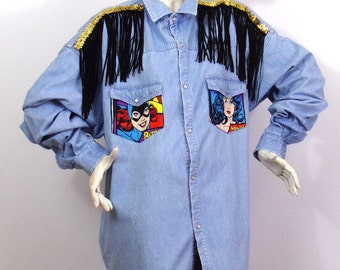 Long shirt Pattern Wonder woman L / XL Brand Dynay Jeanswear by K4U-Créations | Price sold!