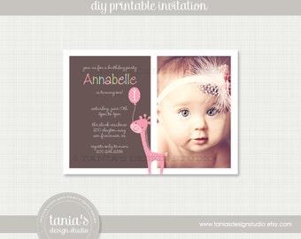 Pink Giraffe Printable Birthday Invitation by tania's design studio