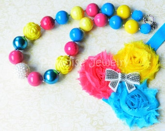 Chunky Necklace Flower Headband Hot Pink Blue Yellow Baby Girl 1st Birthday Outfit Photo Prop Toddler Necklace Birthday Necklace Little Girl