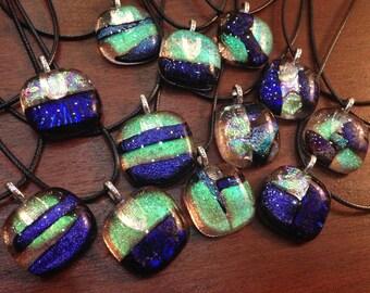 Dichroic Glass Pendants with Cord and Gift Bag