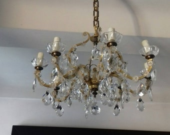 Beautiful chandelier in bronze and brass pendants with Crystal 8 Superb chandelier 8 lights fires crystal