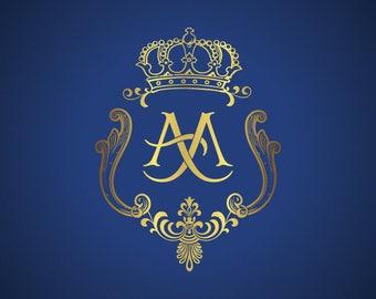 Custom Wedding Monogram, Wedding Logo Design custom made, Family Crest logo design