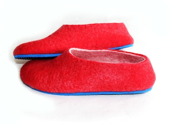 Red Felted Slippers - Wool Shoes - Minimalist Shoes - House Shoes - Christmas in July - Mix and Match - Rubber Soles - Gift for Her