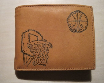 """Mankind Wallets Men's Leather RFID Blocking Billfold w/ """"Basketball & Hoop"""" Image~Makes a Great Gift!"""