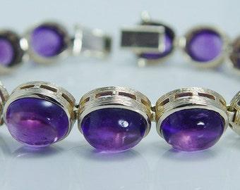 Vintage Gold Bracelet, Amethyst Bracelet, Purple Amethyst Cabochons, Earth Mined Amethyst Gemstones - Over 32 Carats
