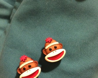 Cute SOCK MONKEY Couple Sockmonkey Brown Clog Shoe Charms