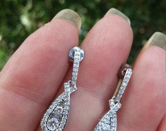 14k Gold 1.25ct Diamond Dangle Earrings