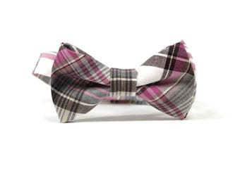 Pink and brown plaid bow tie, little boys bow tie, wedding bow tie, ring bearer bow tie, Pink plaid bow tie, boys bow ties