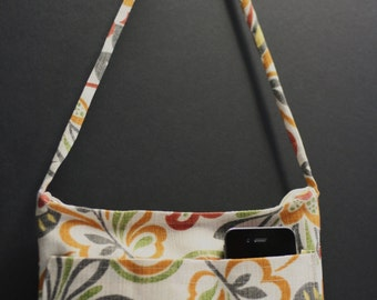 Floral Fabric Purse Orange, Red, Green, Gray