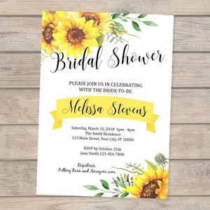 Sunflower invitation etsy sunflowers bridal shower invitation custom sun flowers bridal shower invitations sunflower invitation summer filmwisefo