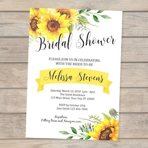 Sunflower invitation etsy sunflowers bridal shower invitation custom sun flowers bridal shower invitations sunflower invitation summer filmwisefo Images