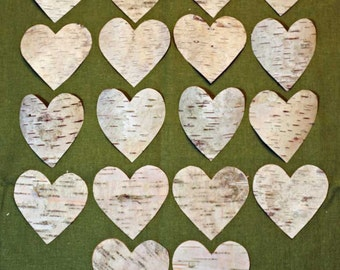 "Birch Bark Hearts  - 15+ Each ~  Large 3"" - Great Size & Price with Shipping Included"