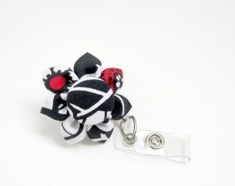 Black, White & Red Floral Retractable Badge Reel, ID Badge, Lanyard, Badge Reel, Corporate ID, Employee ID, Student id, Floral Badge Reel