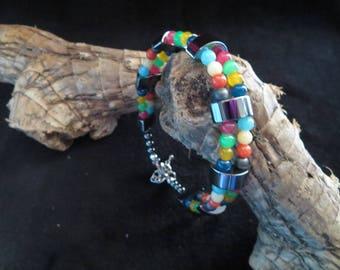 colorful multi strand bracelet in hematite, jade