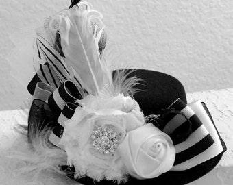 Black and White Mini Top Hat Fascinator