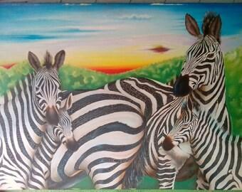 Art Work 5 Zebras.