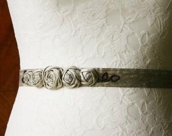 Bridal sash with silk roses, taupe, sand beige, belt, silk dupioni, wedding, with satin band and beads, silk belt, bride, bridal