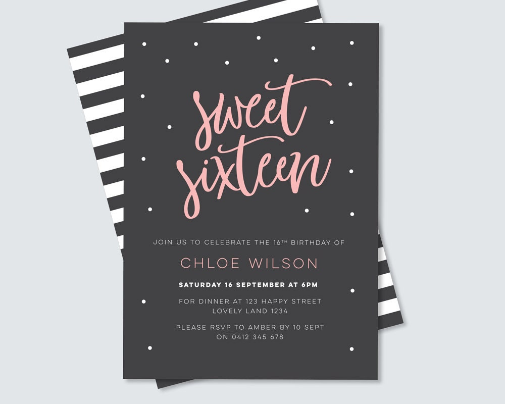 Sweet sixteen birthday party invitation digital file for you to sweet sixteen birthday party invitation digital file for you to print yourself 16th birthday party stylish pink and black design solutioingenieria Choice Image