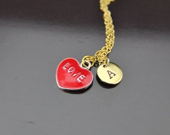Gold Love Heart Charm Necklace, Love Heart Charm, Red Heart Necklace, Romantic Gifts, Personalized Necklace, Initial Necklace