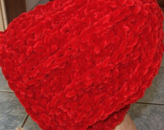 Ruby Red Hat - Handmade - wool microfiber and polyester Velvet