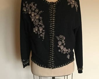 Vintage Hand Beaded Black Wool Cardigan Sweater, Circa 1950s
