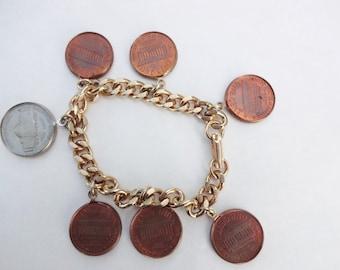 1962 Pennies on a Charm Bracelet