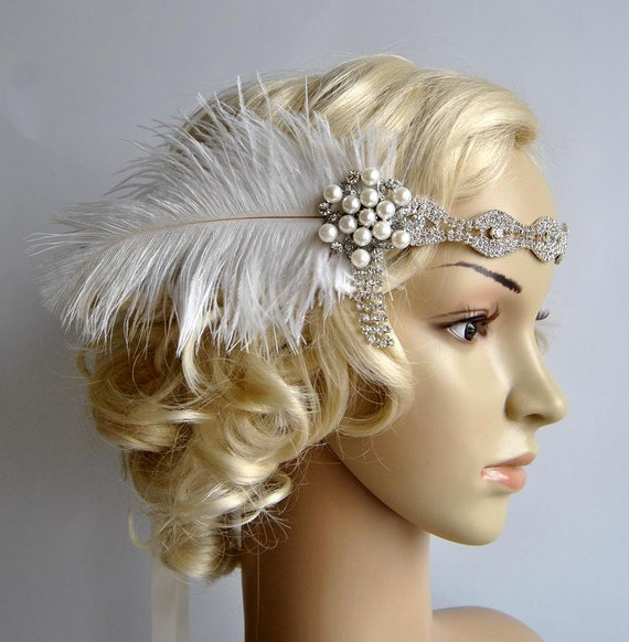 Rhinestone Headband Headpiece With Feathers Great Gatsby