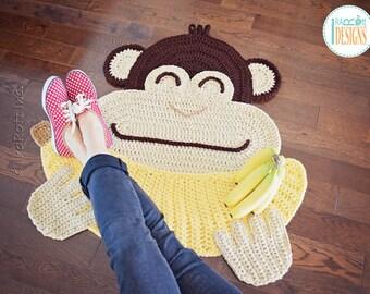 CROCHET PATTERN Chip the Chimpanzee Banana Monkey Rug PDF Crochet Pattern with Instant Download