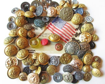 Military Buttons, Vintage Buttons, Bulk Buttons, American Military Buttons, Patriotic, Mixed Media Supply, Button Mix, Waterbury Button Co