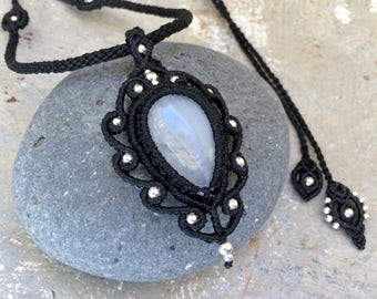 Macrame pendant with moonstone, black necklace in boho style, Free Worldwide Shipping
