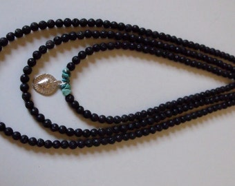 3 Strands of lava rock, turquoise & milagro necklace, Mexica necklace, sacred heart necklace, heart, Milagro necklace, turquoise necklace