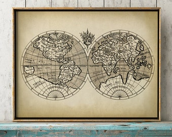 World map print world chart astronomy print old school map world map print earth hemispheres print world map poster world map spherical gumiabroncs Image collections