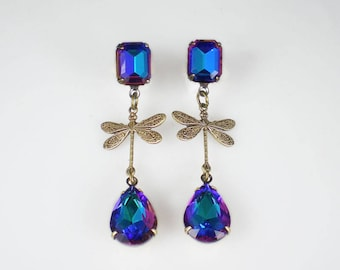 Dragonfly Earrings Blue Aqua Violet Rhinestone Vintage Inspired Dragon Fly Insect Jewelry